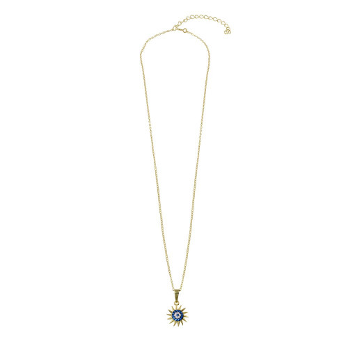 Wholesale Sterling Silver 925 Gold Plated Clear Blue CZ Sun Evil Eye Necklace - BGP01401
