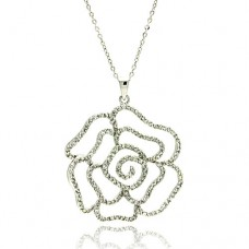 **Closeout** Wholesale Sterling Silver 925 Rhodium Plated Outline Flower CZ Necklace - BGP00318