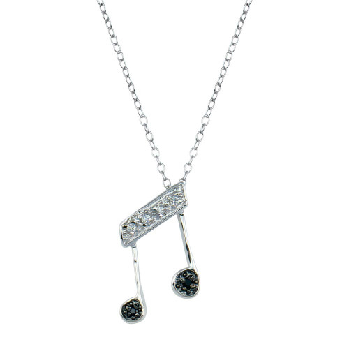 Wholesale Sterling Silver 925 Rhodium Plated Music Note CZ Necklace - BGP00677