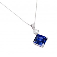 Wholesale Sterling Silver 925 Rhodium Plated Blue CZ Square Pendant - BGP00726
