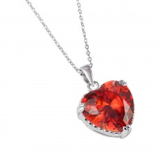 Wholesale Sterling Silver 925 Rhodium Plated Red Heart CZ Rope Necklace - BGP00732