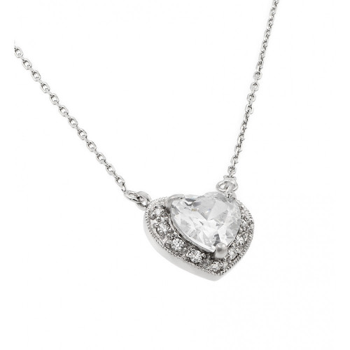 Wholesale Sterling Silver 925 Rhodium Plated CZ Heart April Birthstone Necklace - BGP00911APR