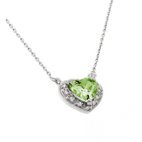 Wholesale Sterling Silver 925 Rhodium Plated CZ Heart August Birthstone Necklace - BGP00911AUG
