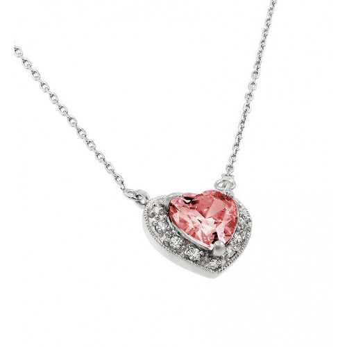 Wholesale Sterling Silver 925 Rhodium Plated CZ Heart July Birthstone Necklace - BGP00911JUL