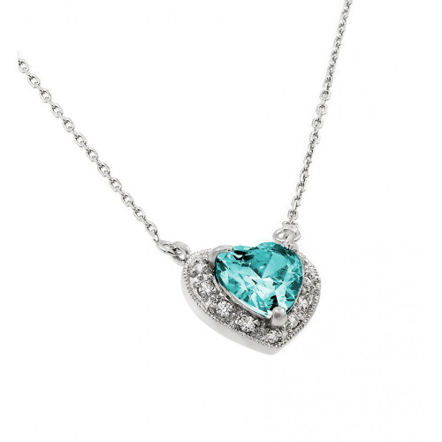 Wholesale Sterling Silver 925 Rhodium Plated CZ Heart March Birthstone Necklace - BGP00911MAR