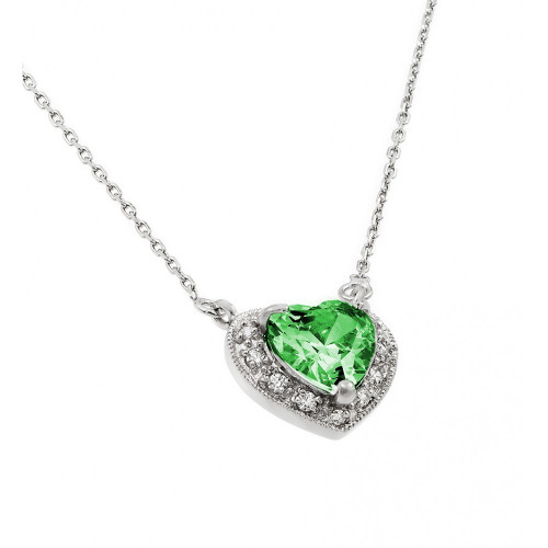Wholesale Sterling Silver 925 Rhodium Plated CZ Heart May Birthstone Necklace - BGP00911MAY
