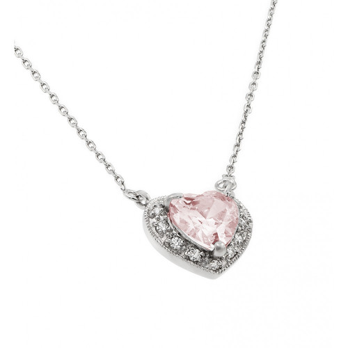 Wholesale Sterling Silver 925 Rhodium Plated CZ Heart October Birthstone Necklace - BGP00911OCT