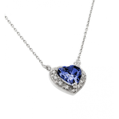 Wholesale Sterling Silver 925 Rhodium Plated CZ Heart September Birthstone Necklace - BGP00911SEP
