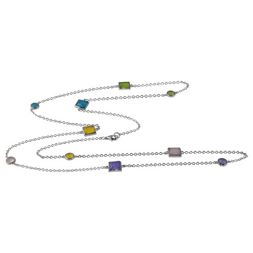 """Wholesale Sterling Silver 925 Rhodium Plated Multiple Color Stone Chain Necklace 36"""" - BGP00925"""