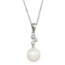 Wholesale Sterling Silver 925 Rhodium Plated Synthetic Pearl CZ Drop Necklace - BGP00973
