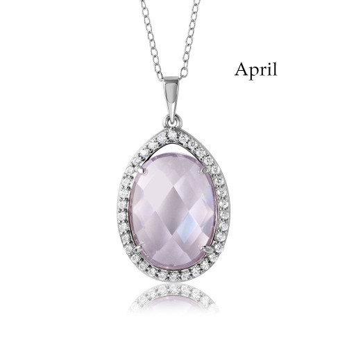 Wholesale Sterling Silver 925 Rhodium Plated Oval CZ April Birthstone Necklace - BGP01034APR