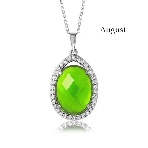 Wholesale Sterling Silver 925 Rhodium Plated Oval CZ August Birthstone Necklace - BGP01034AUG