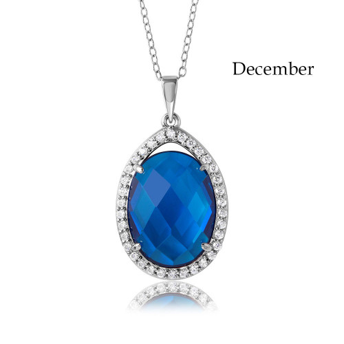 Wholesale Sterling Silver 925 Rhodium Plated Oval CZ December Birthstone Necklace - BGP01034DEC