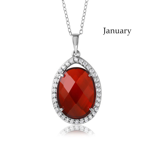Wholesale Sterling Silver 925 Rhodium Plated Oval CZ January Birthstone Necklace - BGP01034JAN