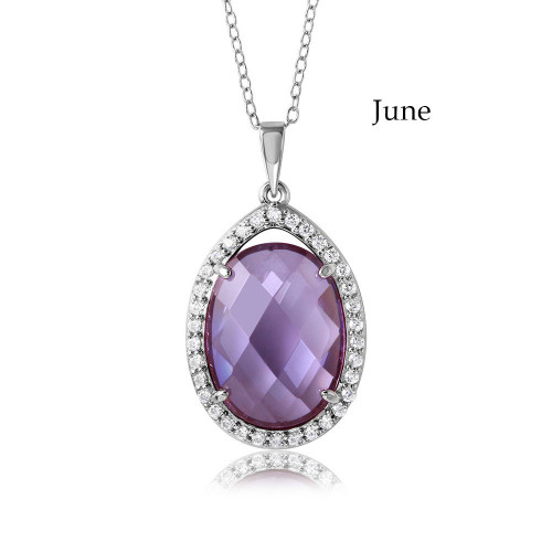 Wholesale Sterling Silver 925 Rhodium Plated Oval CZ June Birthstone Necklace - BGP01034JUN