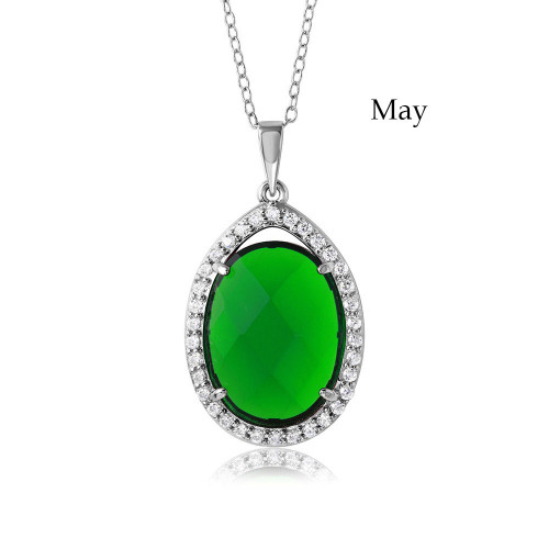 Wholesale Sterling Silver 925 Rhodium Plated Oval CZ May Birthstone Necklace - BGP01034MAY