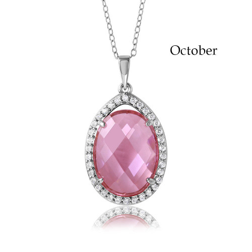 Wholesale Sterling Silver 925 Rhodium Plated Oval CZ October Birthstone Necklace - BGP01034OCT