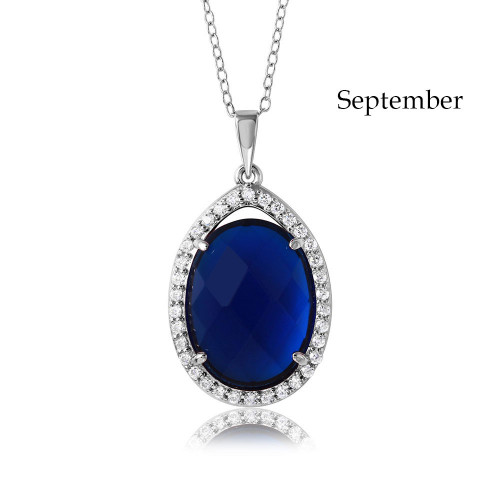 Wholesale Sterling Silver 925 Rhodium Plated Oval CZ September Birthstone Necklace - BGP01034SEP