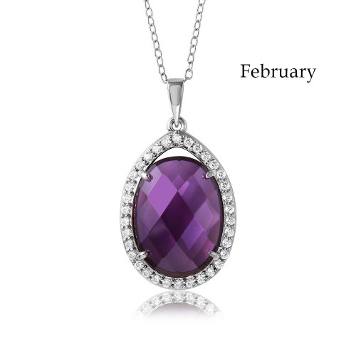 Wholesale Sterling Silver 925 Rhodium Plated Oval CZ February Birthstone Necklace - BGP01034FEB