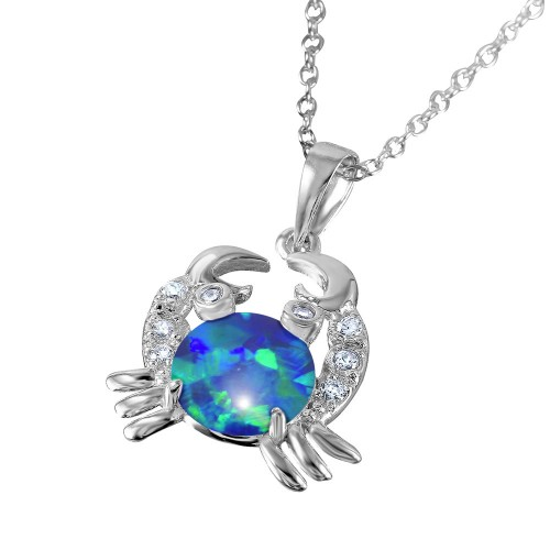 Wholesale Sterling Silver 925 Rhodium Plated Crab with CZ and Synthetic Opal Center Stone - BGP01070BLU