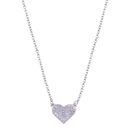 Wholesale Sterling Silver 925 Rhodium Plated  CZ Encrusted Heart Necklace - BGP01090