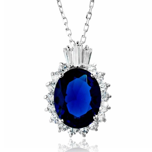 Wholesale Sterling Silver 925 Rhodium Plated Oval Pave with Blue Baguette Crown CZ - BGP01188BLU