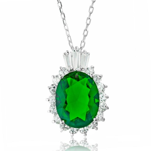 Wholesale Sterling Silver 925 Rhodium Plated Oval Pave with Green Baguette Crown CZ - BGP01188GRN
