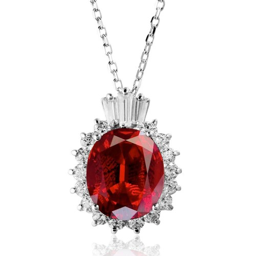 Wholesale Sterling Silver 925 Rhodium Plated Oval Pave with Red Baguette Crown CZ - BGP01188RED