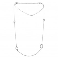 "Wholesale Sterling Silver 925 Rhodium Plated CZ Open Charm Chain Necklace 36"" - BGP01197"