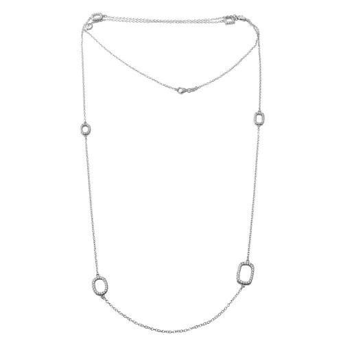 """Wholesale Sterling Silver 925 Rhodium Plated CZ Open Charm Chain Necklace 36"""" - BGP01197"""
