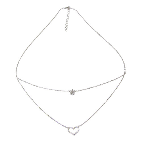 Wholesale Sterling Silver 925 Rhodium Plated Double Chain Heart Necklace with Mounting Set - BGP01223