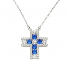 Wholesale Sterling Silver 925 Rhodium Plated Cross Pendant Necklace with Clear and Blue Necklace - BGP01279