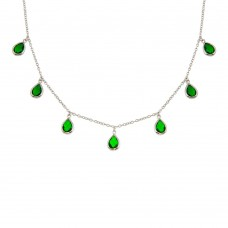 Wholesale Sterling Silver 925 Rhodium Plated Dangling Green CZ Teardrop Necklace - BGP01250GRN