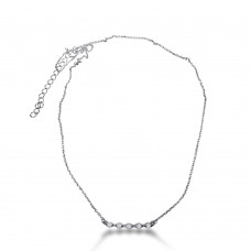 Sterling Silver Rhodium Plated 5 CZ Bar Pendant Necklace - BGP01251