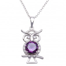 Sterling Silver Rhodium Plated Purple CZ Owl Necklace - BGP01253