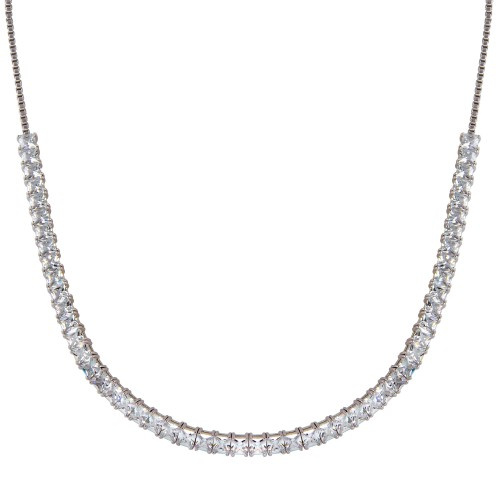 Wholesale Sterling Silver 925 Rhodium Plated Adjustable Tennis CZ Necklace - BGP01255
