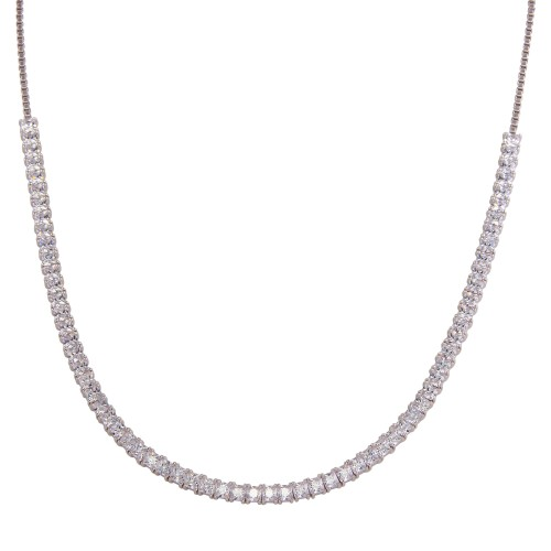 Wholesale Sterling Silver 925 Rhodium Plated Adjustable Tennis CZ Necklace - BGP01256