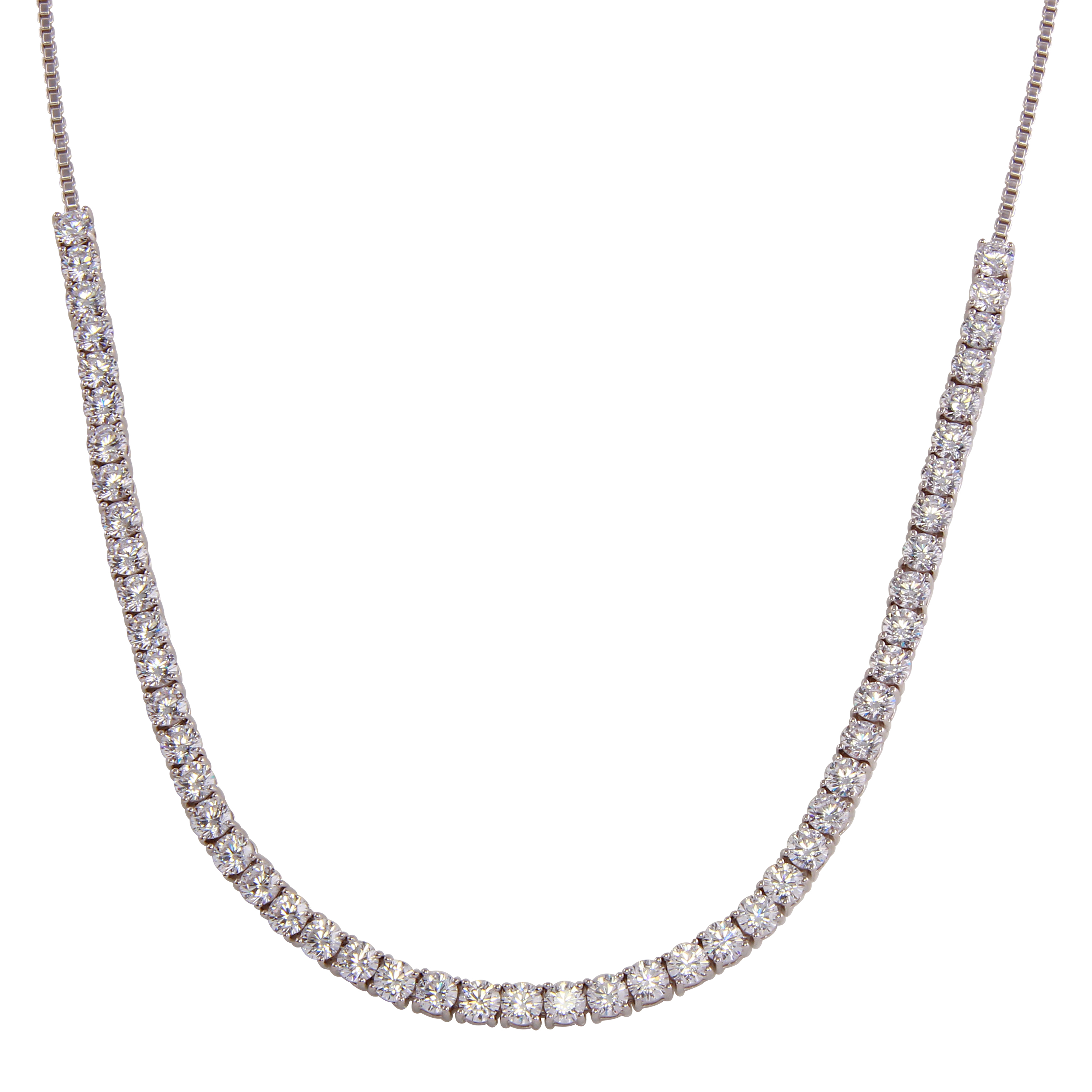 Wholesale Sterling Silver 925 Rhodium Plated Adjustable Tennis CZ Necklace - BGP01257