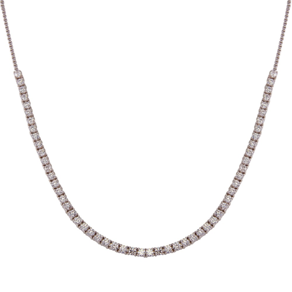 Wholesale Sterling Silver 925 Rhodium Plated Adjustable Tennis CZ Necklace - BGP01258