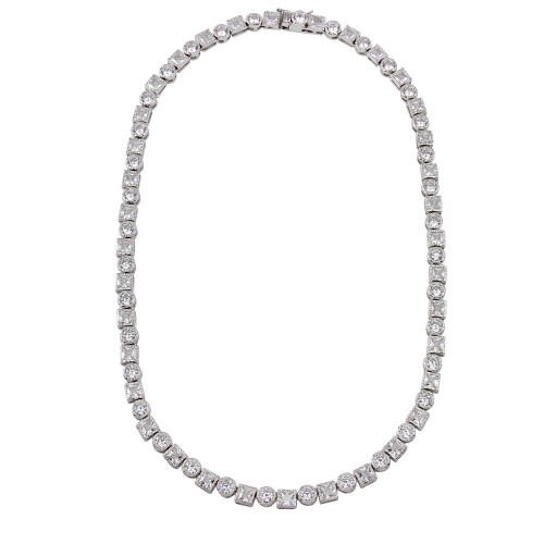 Wholesale Sterling Silver 925 Rhodium Plated Round and Square CZ Infinity Necklace - BGP01259