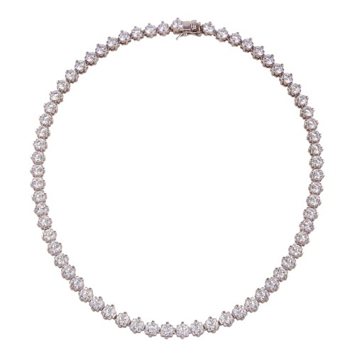 Wholesale Sterling Silver 925 Rhodium Plated Tennis CZ Necklace - BGP01260