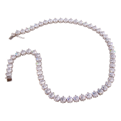 Wholesale Sterling Silver 925 Rhodium Plated Tennis CZ Necklace - BGP01261
