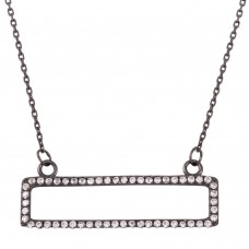 Sterling Silver Black Rhodium Plated Open Rectangle Pendant Necklace with CZ - BGP01262