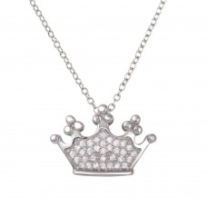 Sterling Silver Rhodium Plated Crown Pendant Necklace with CZ - BGP01263