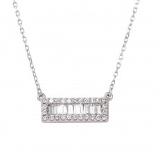 Sterling Silver Rhodium Plated Bar Pendant Necklace with CZ - BGP01264