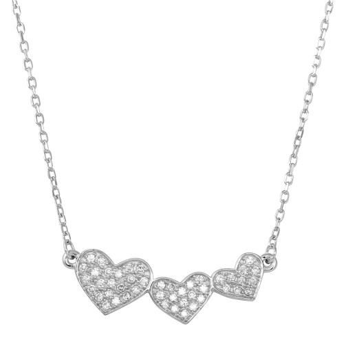 Wholesale Sterling Silver 925 Rhodium Plated Triple Heart Pendant with CZ - BGP01266