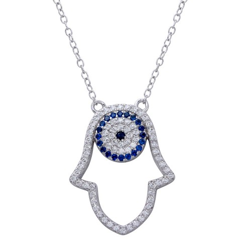 Wholesale Sterling Silver 925 Rhodium Plated Hamsa Pendant Necklace with CZ - BGP01268