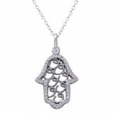 Sterling Silver Rhodium Plated Hamsa Hand CZ Border Necklace - BGP01269