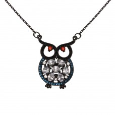Sterling Silver Black Rhodium Plated Owl with Multi-Colored CZ - BGP01270