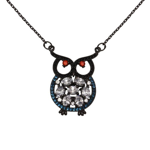 Wholesale Sterling Silver 925 Black Rhodium Plated Multi-Colored Owl CZ Necklace - BGP01270